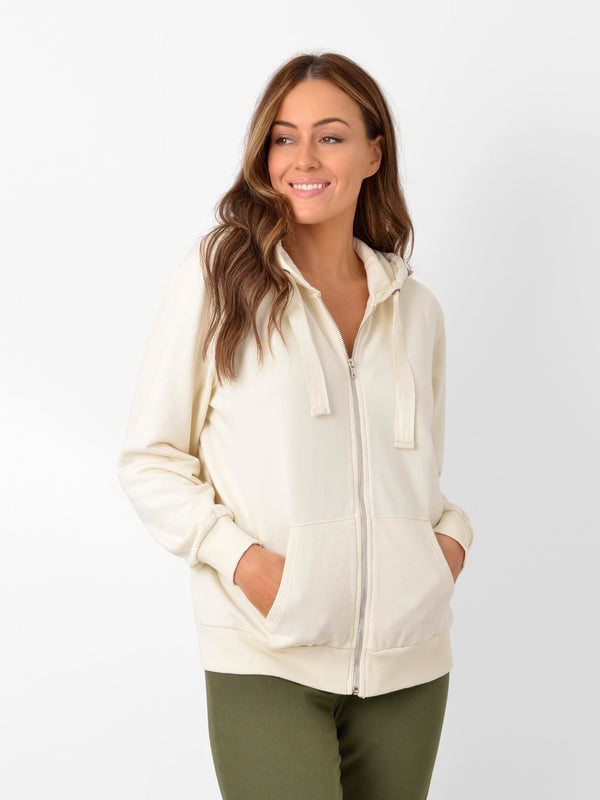 Chalk White Zip Through Hoodie