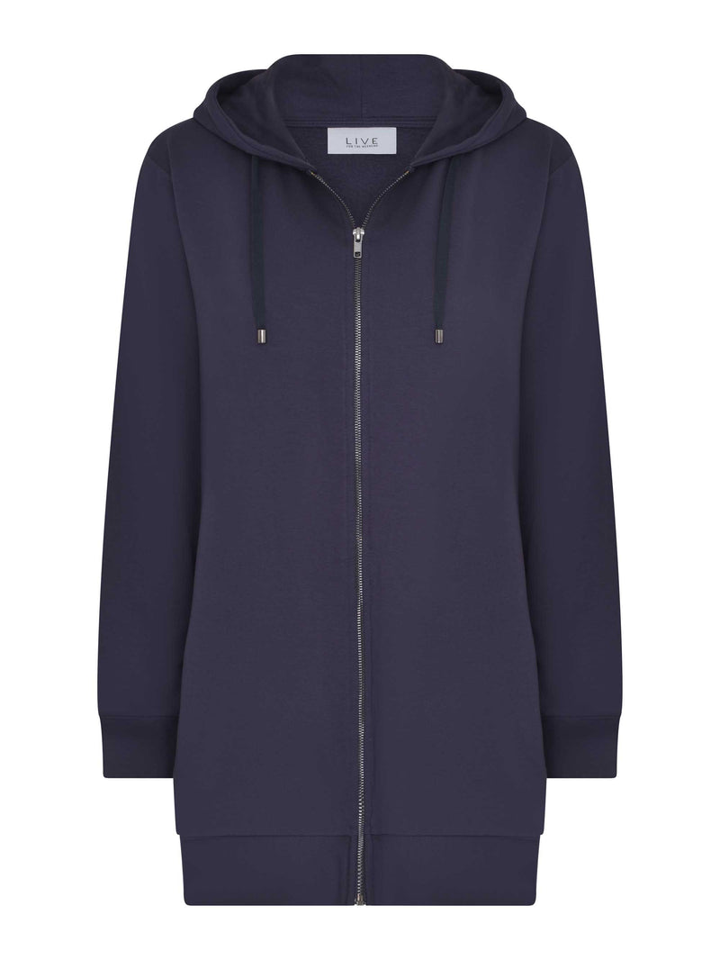 Longline Zip Through Hoodie