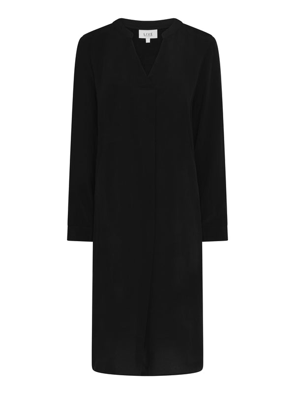 Black Long Sleeve Cupro Dress