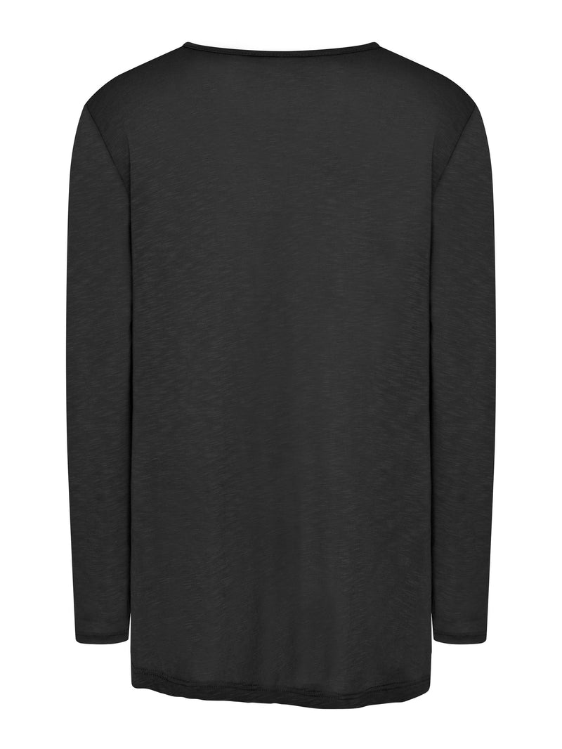 Viscose Slub Gathered V Neck Tee