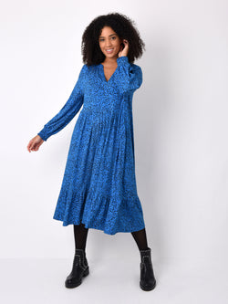 Blue Heart Print Jersey Midi Dress