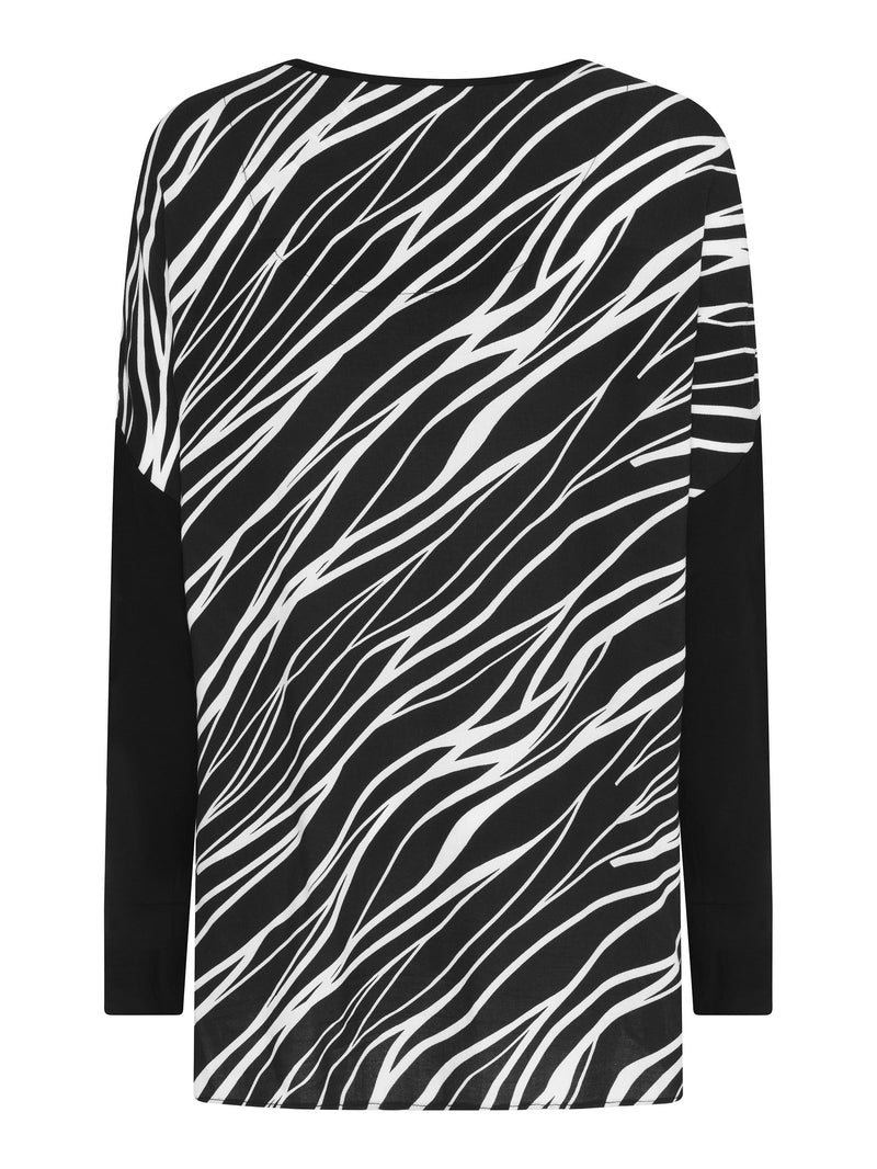 Jersey Top With Zebra Print Back