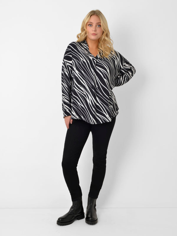 Zebra Over the Head Blouse