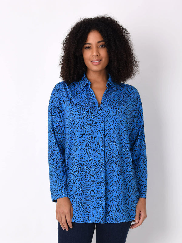 Blue Heart Print Jersey Shirt