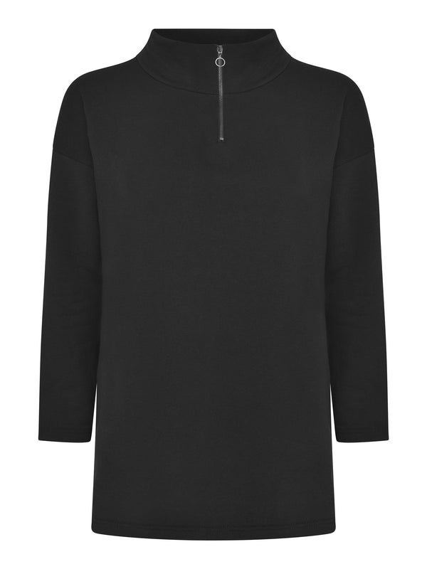 Black Zip Front Sweatshirt