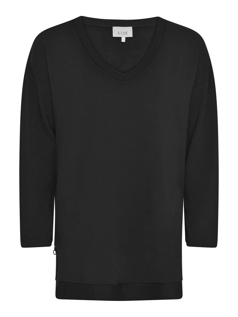 Modal Sweatshirt Tunic with Side Zips - Live Unlimited London