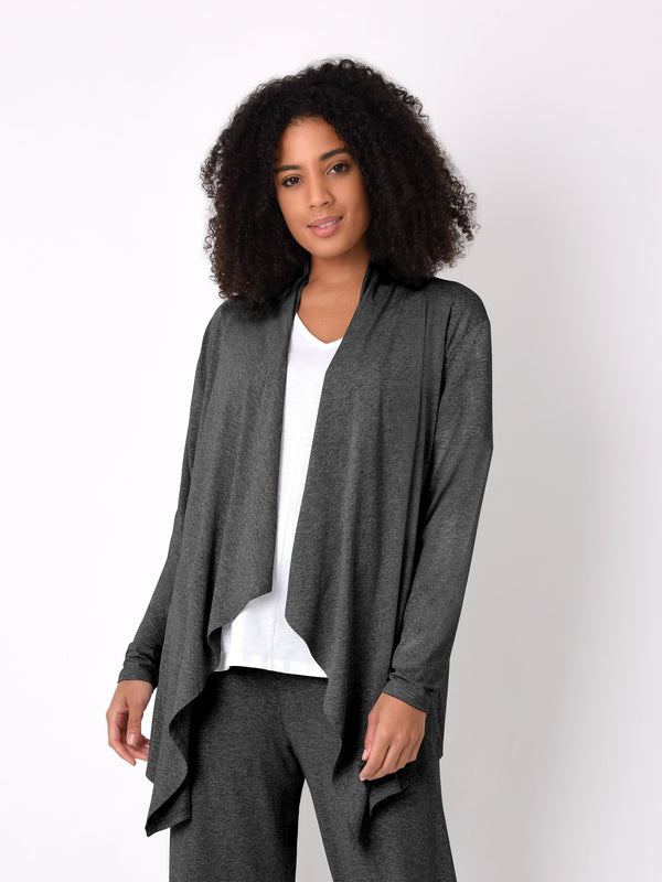 Black Jersey Hanky Hem Cardigan - Live Unlimited London