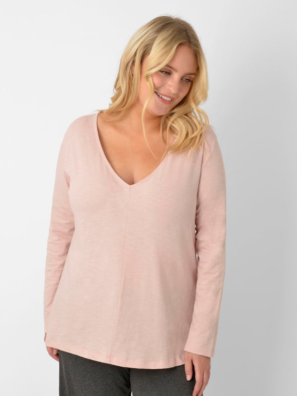 Pink Cotton Textured Long Sleeve Tee