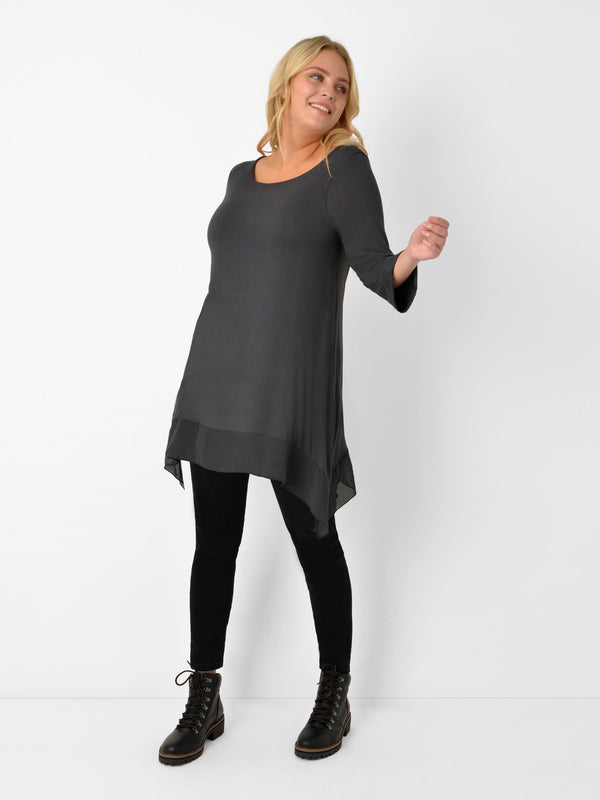 Dark Grey Hanky Hem Jersey Top with Contrast Hem