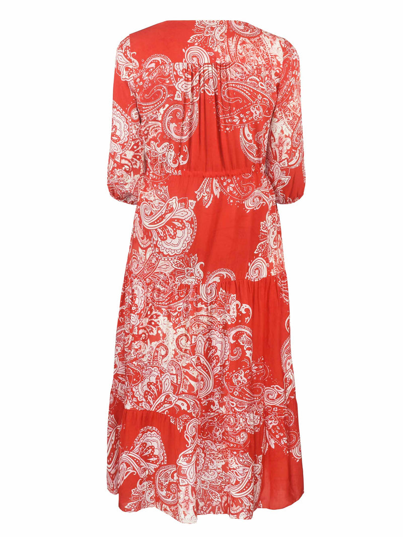 Red Paisley Midi Dress