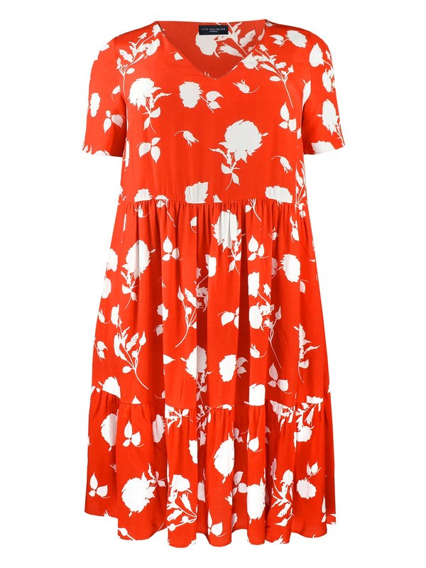 Red Floral Tiered Dress