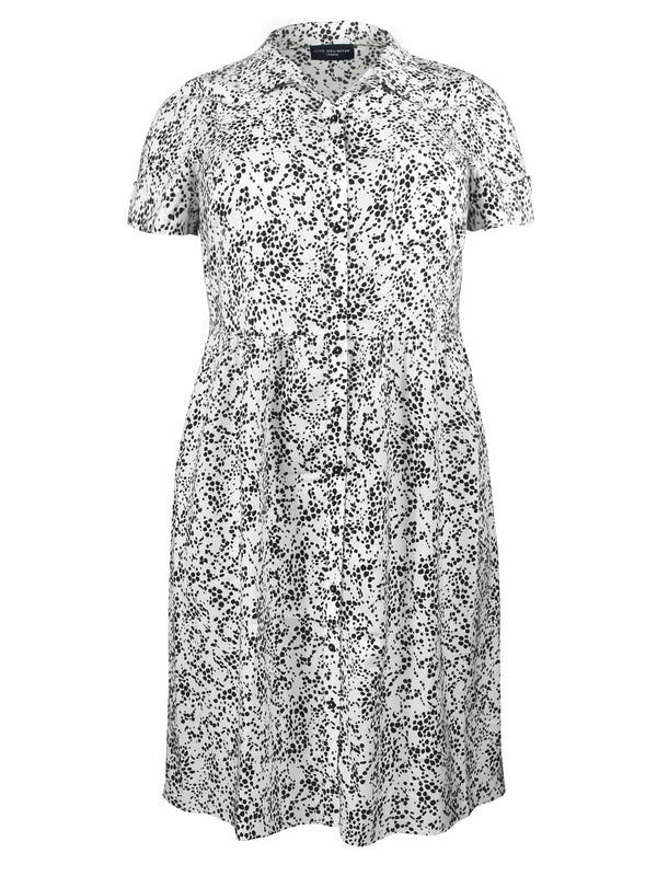 Mono Print Tiered Shirt Dress