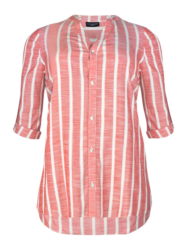 Red Stripe Long line Shirt