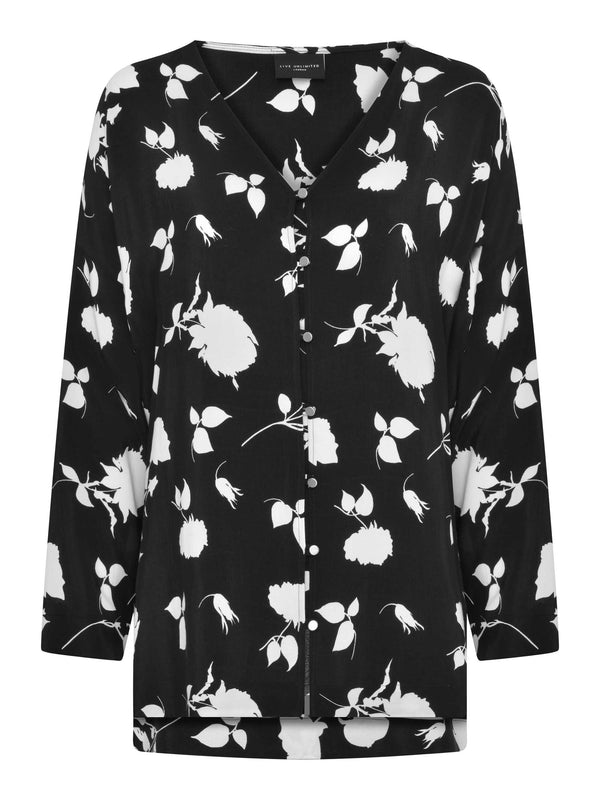 Mono Floral Button Through Blouse