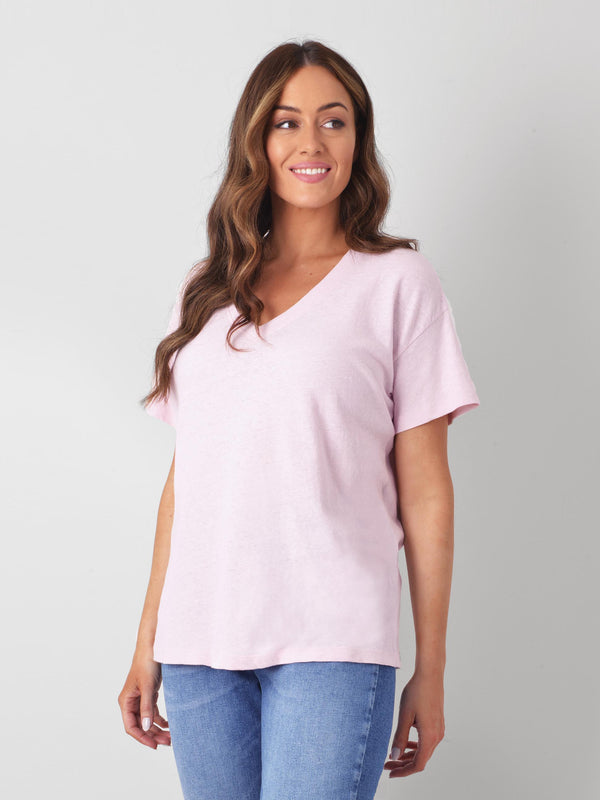 Cotton/Linen Blend V Neck T-Shirt