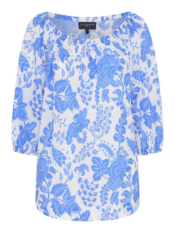 Blue Floral Cotton Bardot Top