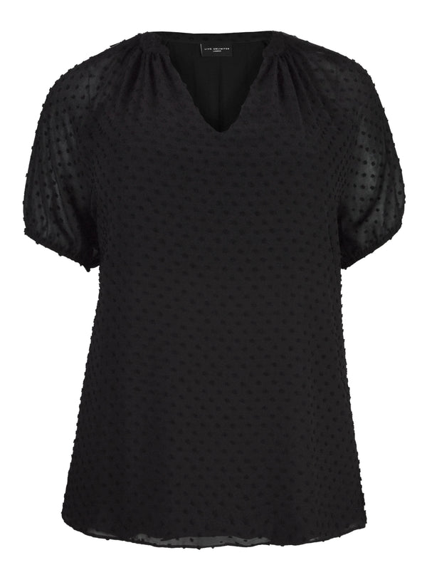 Black Dobby Textured Top