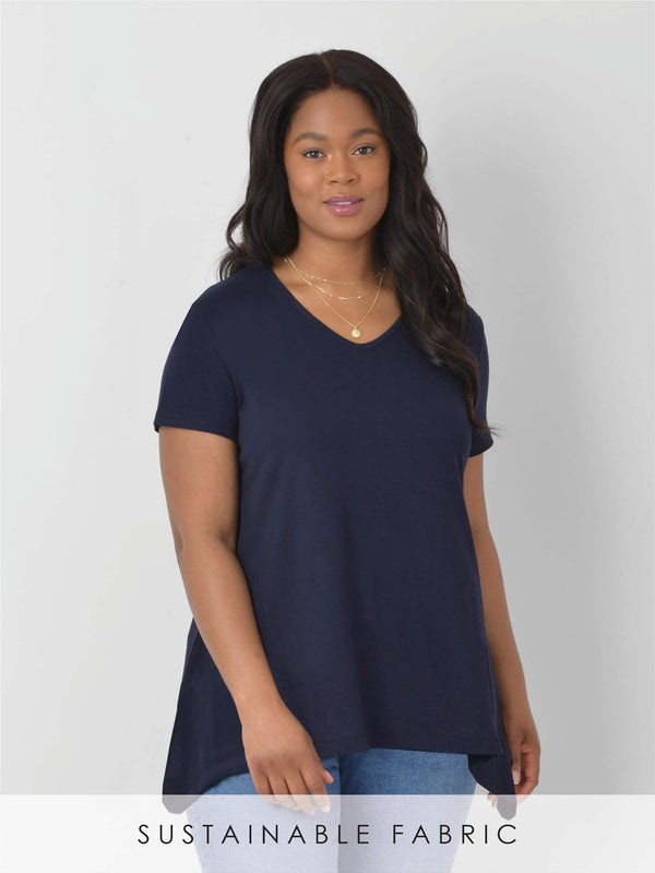 Linen Blend Mix V Neck T-Shirt