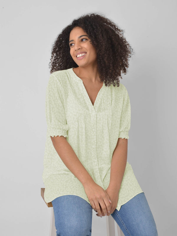 Lime Ditsy Pintuck Detail Blouse