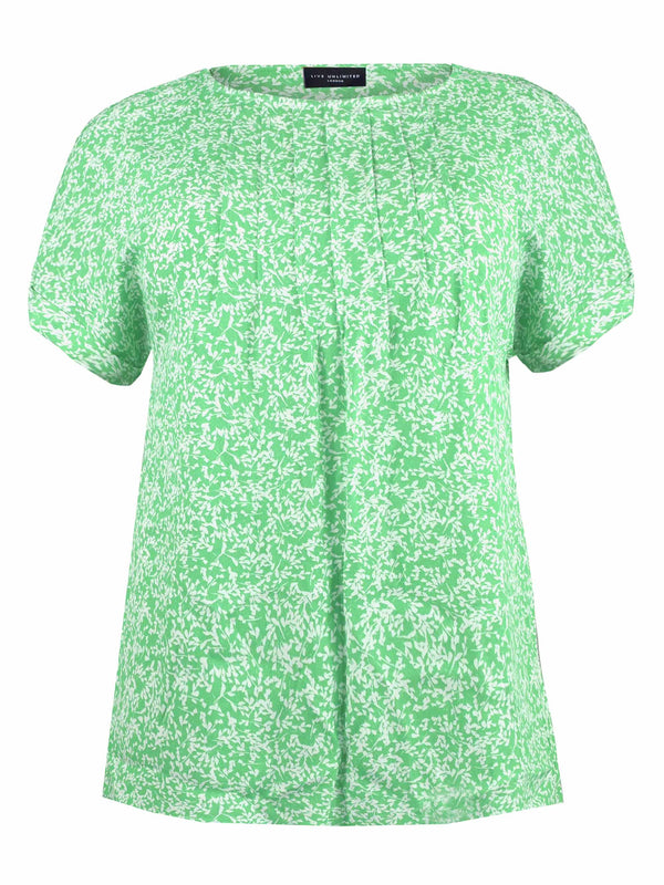 Green Ditsy Pintuck Detailed Top
