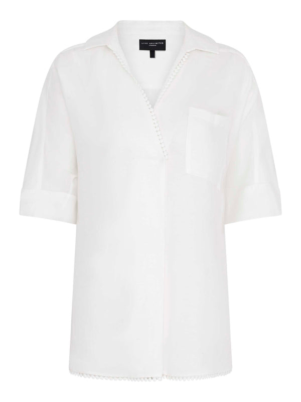 Linen Blend Shirt with Trim Detail
