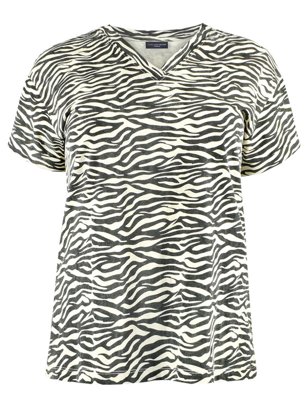 Zebra Print Cotton-Linen Blend V Neck T-Shirt