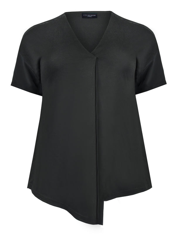 Black Linen Blend Pleat Front Top