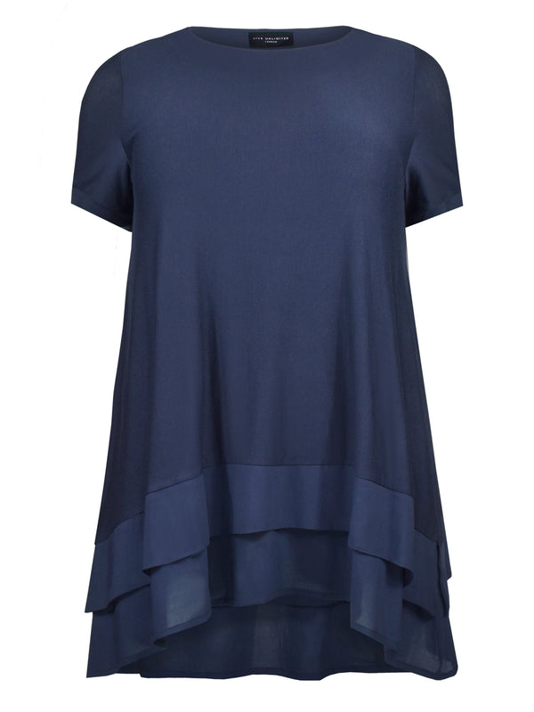Hanky Hem Short Sleeve Jersey and Voile Mix Top