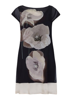 Stone Poppy Chiffon Overlay Dress - Live Unlimited London