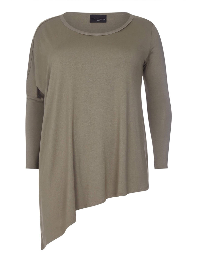 Khaki Asymmetric Poncho Top