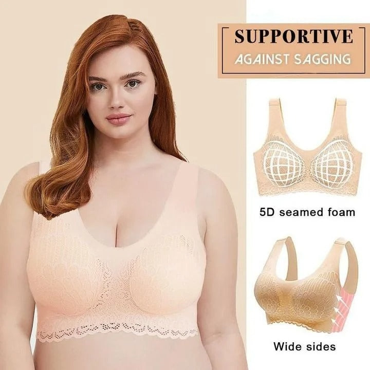 Wireless Push Up Comfort Shock-proof Latex Pad Lace Bra
