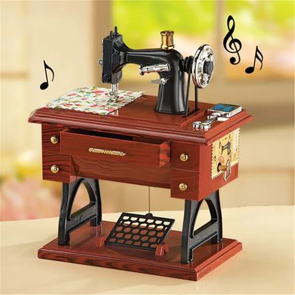 Wood Mini Sewing Machine Music Box🔥