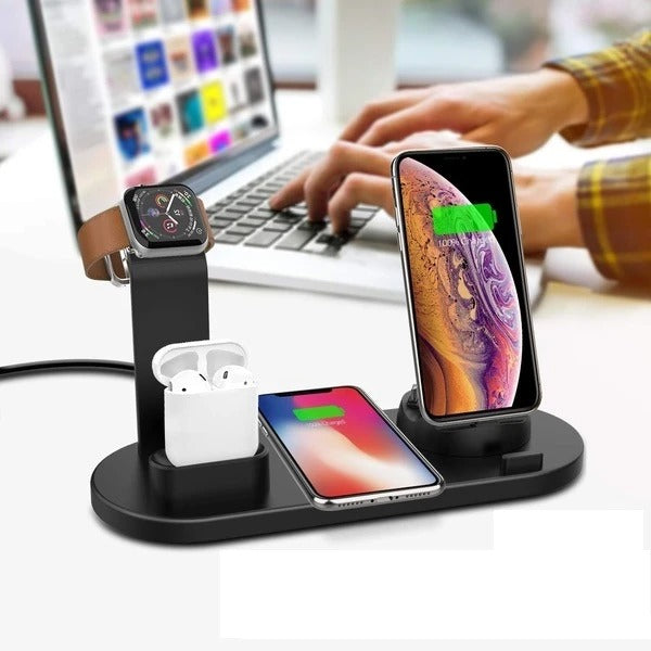 4-in-1 Charging Dock Station with Qi Wireless Pad