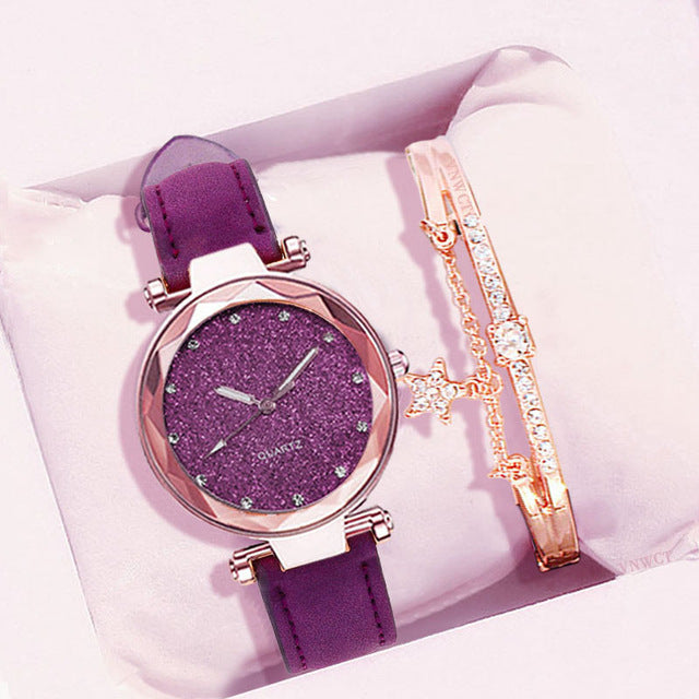 Starry Sky Fashion Frosted Leather Little Luminous Ladies Watch