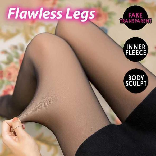 Fake Translucent Warm Fleece Pantyhose