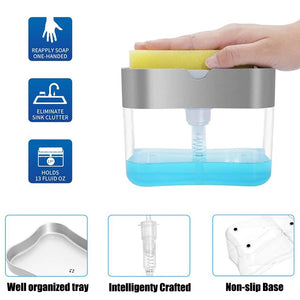2-in-1 Pump Soap Dispenser And Sponge Caddy - 1ClickDeals