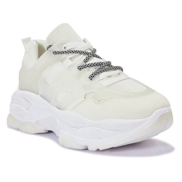 191137 CONTRAST CHUNKY LACE UP TRAINER