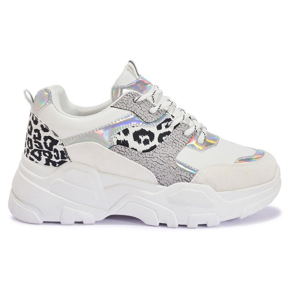 200416 MULTI PRINT CHUNKY LACE UP TRAINER