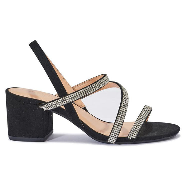HALLIE8 DIAMANTE STRAP DETAIL BLOCK HEEL SANDAL