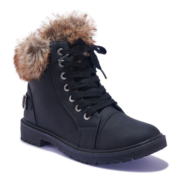 NNY2 FAUX FUR COLLAR FLAT LACE UP BOOT