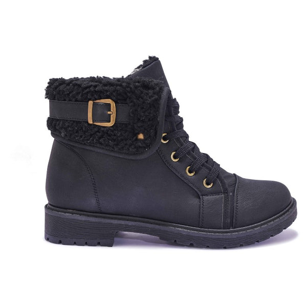 NNY6 FAUX SHEARLING COLLAR FLAT LACE UP BOOT