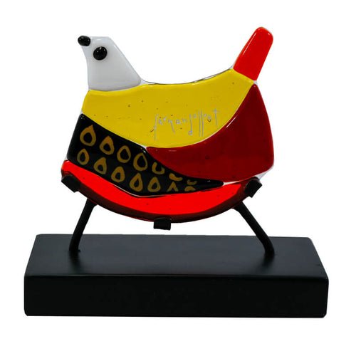 fernando llort glass bird yellow red el salvador palmero