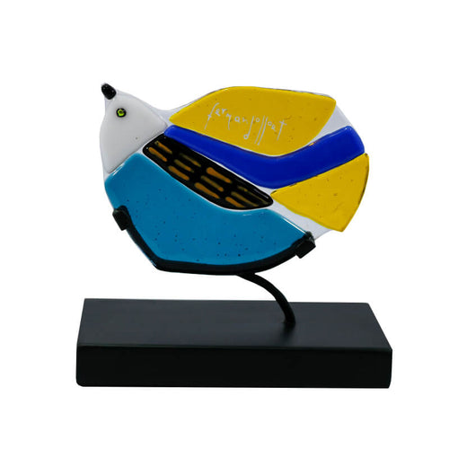 stained glass bird decoration fernando llort blue yellow black