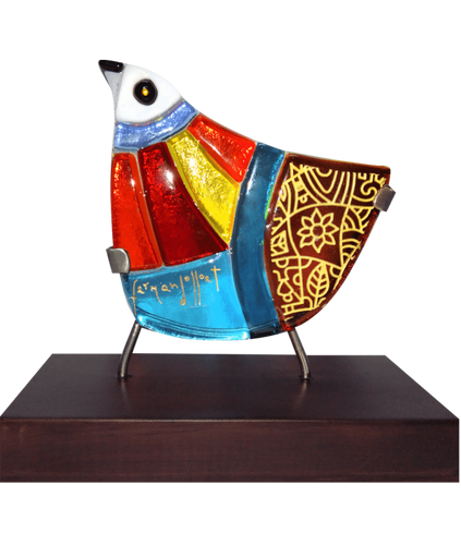 ave pajaro Fernando Llort Artisinal bird glass art fused decoration el salvador salvadoran art