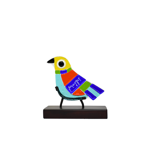 Bird in colors, fused glass decorative figurine