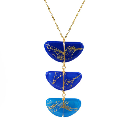 Three Piece Glass Art Necklace - Blue, Hummingbird Engraving