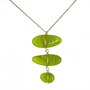 Necklace handmade fused cast glass engraved green tropical leaves banana leaf vitrales 2020 el salvador jewelry