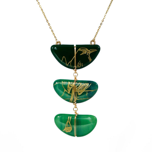 three piece necklace handmade fused artistic glass stained glass green jade gold golden torogoz bird el salvador national vitrales 2020