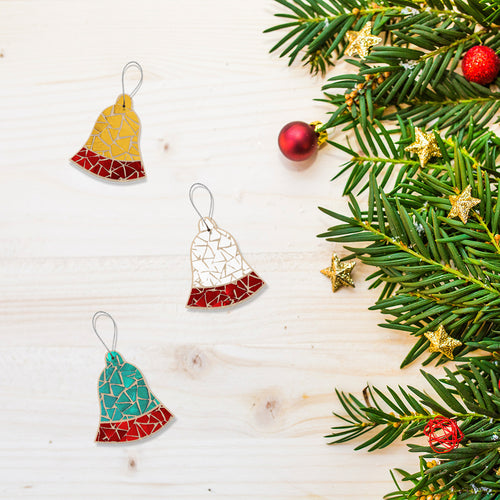 Handcraft: glass mosaic Christmas tree ornaments