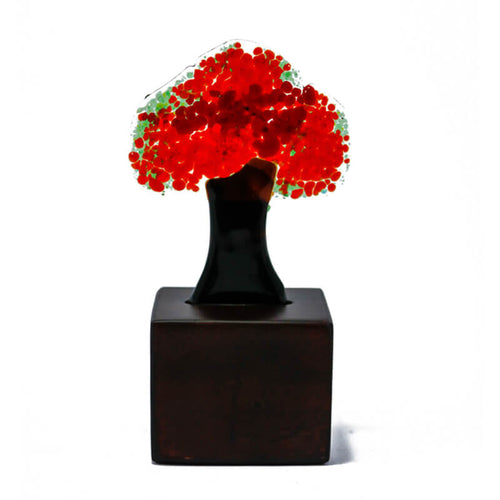 Flame tree, mini fused glass collectable handmade figurine